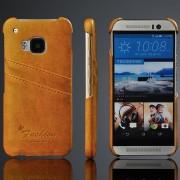 HTC ONE M9 læder bag cover med kort holder, khaki brun Mobiltelefon tilbehør