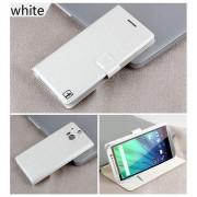 HTC ONE M8 læder cover med kort lomme, hvid Mobiltelefon tilbehør