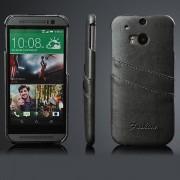 HTC ONE M8 læder bag cover med kort holder, grå Mobiltelefon tilbehør
