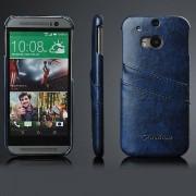 HTC ONE M8 læder bag cover med kort holder, blå Mobiltelefon tilbehør