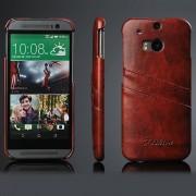 HTC ONE M8 læder bag cover med kort holder, moccabrun Mobiltelefon tilbehør