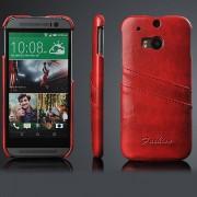 HTC ONE M8 læder bag cover med kort holder, rød Mobiltelefon tilbehør