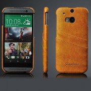 HTC ONE M8 læder bag cover med kort holder, gulbrun Mobiltelefon tilbehør