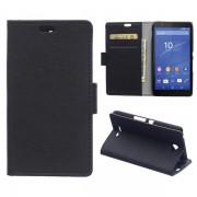 SONY XPERIA E4 læder cover med kort lomme, sort Mobiltelefon tilbehør