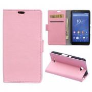 SONY XPERIA E4 læder cover med kort lomme, pink Mobiltelefon tilbehør