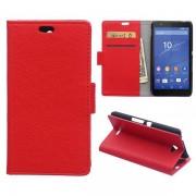 SONY XPERIA E4 læder cover med kort lomme, rød Mobiltelefon tilbehør