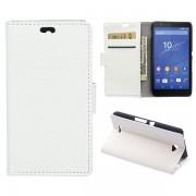 SONY XPERIA E4 læder cover med kort lomme, hvid Mobiltelefon tilbehør