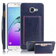 SAMSUNG GALAXY A5 (2016) læder bag cover med kort lomme, blå Mobiltelefon tilbehør