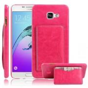 SAMSUNG GALAXY A5 (2016) læder bag cover med kort lomme, rosa Mobiltelefon tilbehør