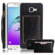 SAMSUNG GALAXY A5 (2016) læder bag cover med kort lomme, sort Mobiltelefon tilbehør