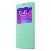 SAMSUNG GALAXY NOTE 4 læder cover med praktisk vindue, blå Mobiltelefon tilbehør