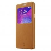 SAMSUNG GALAXY NOTE 4 læder cover med praktisk vindue, brun Mobiltelefon tilbehør