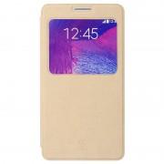 SAMSUNG GALAXY NOTE 4 læder cover med praktisk vindue, khaki Mobiltelefon tilbehør