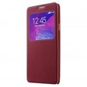 SAMSUNG GALAXY NOTE 4 læder cover med praktisk vindue, rød Mobiltelefon tilbehør