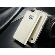 SAMSUNG GALAXY S6 EDGE luksus vintage læder cover, hvid Mobiltelefon tilbehør