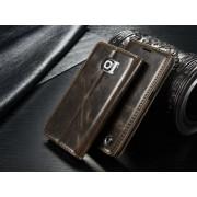 SAMSUNG GALAXY S6 EDGE luksus vintage læder cover, mørkebrun Mobiltelefon tilbehør