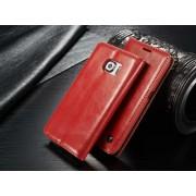 SAMSUNG GALAXY S6 EDGE luksus vintage læder cover, rød Mobiltelefon tilbehør