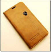 SAMSUNG GALAXY S6 EDGE retro læder cover med kort lomme, lysebrun Mobiltelefon tilbehør