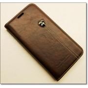 SAMSUNG GALAXY S6 EDGE retro læder cover med kort lomme, mørkebrun Mobiltelefon tilbehør