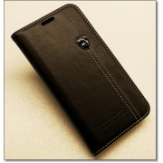 SAMSUNG GALAXY S6 EDGE retro læder cover med kort lomme, sort Mobiltelefon tilbehør