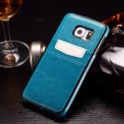 SAMSUNG GALAXY S6 læder bag cover med kort lommer, blå Mobiltelefon tilbehør