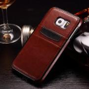 SAMSUNG GALAXY S6 læder bag cover med kort lommer, brun Mobiltelefon tilbehør