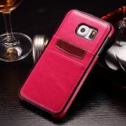 SAMSUNG GALAXY S6 læder bag cover med kort lommer, rosa Mobiltelefon tilbehør