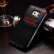 SAMSUNG GALAXY S6 læder bag cover med kort lommer, sort Mobiltelefon tilbehør
