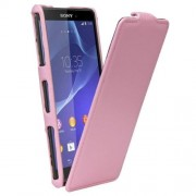 SONY xperia z3 compact læder cover, pink Mobiltelefon tilbehør