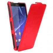 SONY xperia z3 compact læder cover, rød Mobiltelefon tilbehør