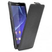 SONY xperia z3 compact læder cover, sort Mobiltelefon tilbehør