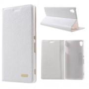 SONY XPERIA Z3+ klassisk flip læder cover, hvid Mobiltelefon tilbehør