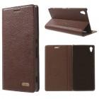 SONY XPERIA Z3+ klassisk flip læder cover, mørkebrun Mobiltelefon tilbehør