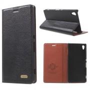 SONY XPERIA Z3+ klassisk flip læder cover, sort Mobiltelefon tilbehør