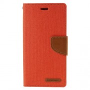 SONY xperia z3 mercury canvas læder pung cover, orange Mobiltelefon tilbehør