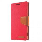 SONY xperia z3 mercury canvas læder pung cover, rød Mobiltelefon tilbehør