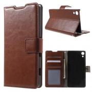 SONY XPERIA Z3+ pung læder cover, brun Mobiltelefon tilbehør