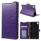 SONY XPERIA Z3+ pung læder cover, lilla Mobiltelefon tilbehør