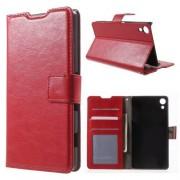 SONY XPERIA Z3+ pung læder cover, rød Mobiltelefon tilbehør