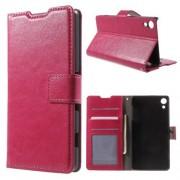 SONY XPERIA Z3+ pung læder cover, rosa Mobiltelefon tilbehør