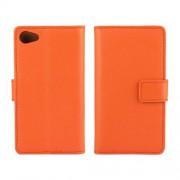 SONY XPERIA Z5 COMPACT læder cover med kort lommer, orange Mobiltelefon tilbehør
