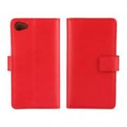SONY XPERIA Z5 COMPACT læder cover med kort lommer, rød Mobiltelefon tilbehør