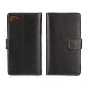 SONY XPERIA Z5 COMPACT læder cover med kort lommer, sort Mobiltelefon tilbehør