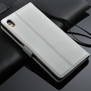SONY XPERIA Z5 læder cover med kort lommer, hvid Mobiltelefon tilbehør