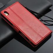 SONY XPERIA Z5 læder cover med kort lommer, rød Mobiltelefon tilbehør