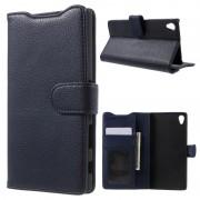SONY XPERIA Z5 PREMIUM læder pung cover, mørkeblå Mobiltelefon tilbehør
