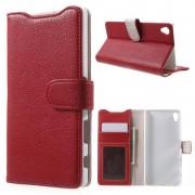 SONY XPERIA Z5 PREMIUM læder pung cover, rød Mobiltelefon tilbehør