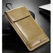 Universal læder taske/etui str large, brun Mobiltelefon tilbehør